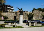 Monument of Mujo Ulqinaku-army officer who fought italian occupiers on April 1039